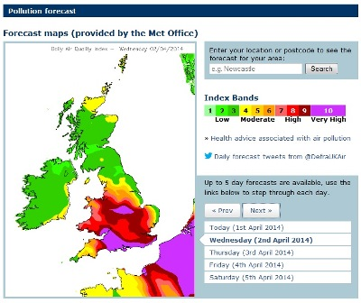 Air pollution map April 2014 - Met Office